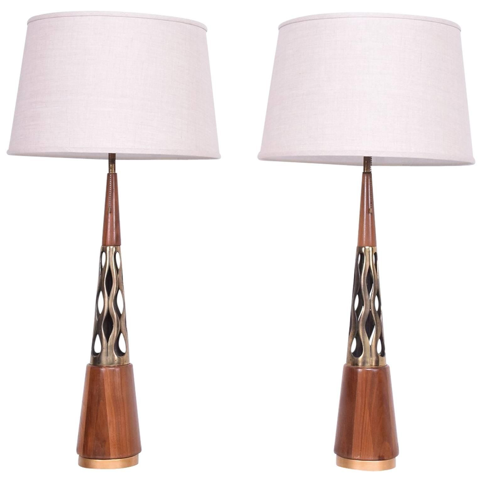 Mid Century Modern Walnut And Brass Table Lamps For Sale The Kairos Collective Uk