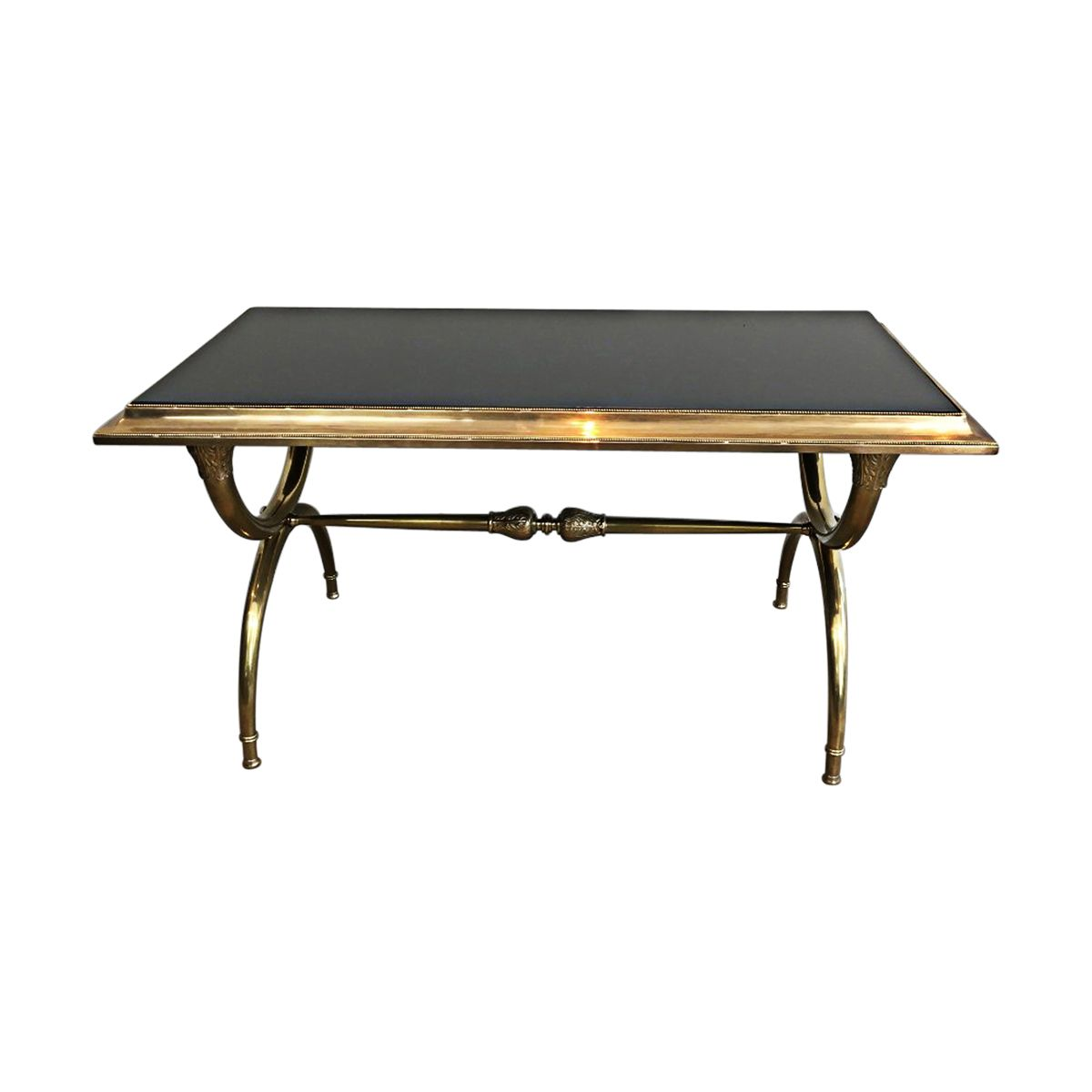 1940s Neoclassical Bronze And Bass Coffee Table With Black