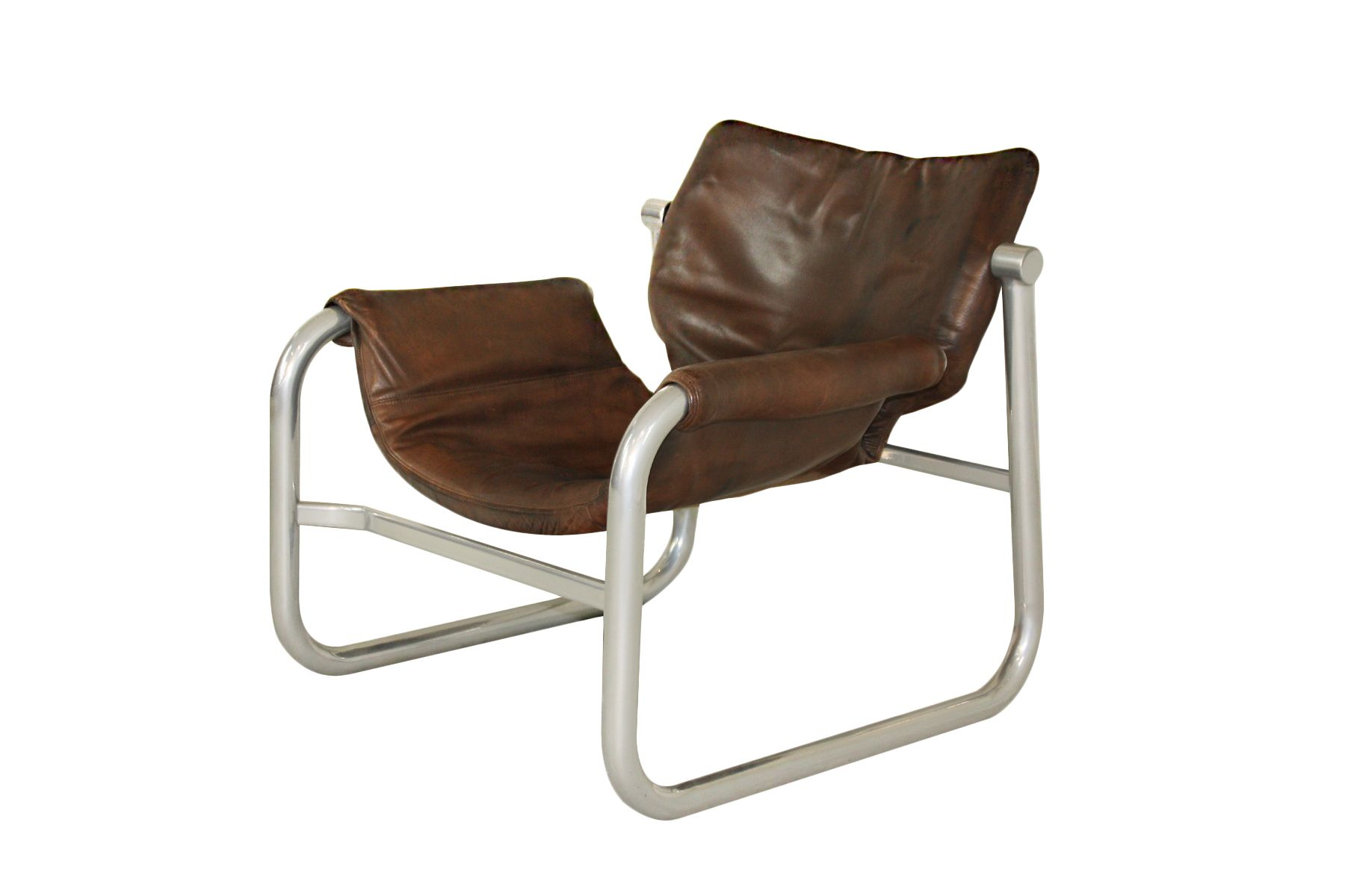 Mid Century Leather Sling Chair By Maurice Burke For Pozza Brazil