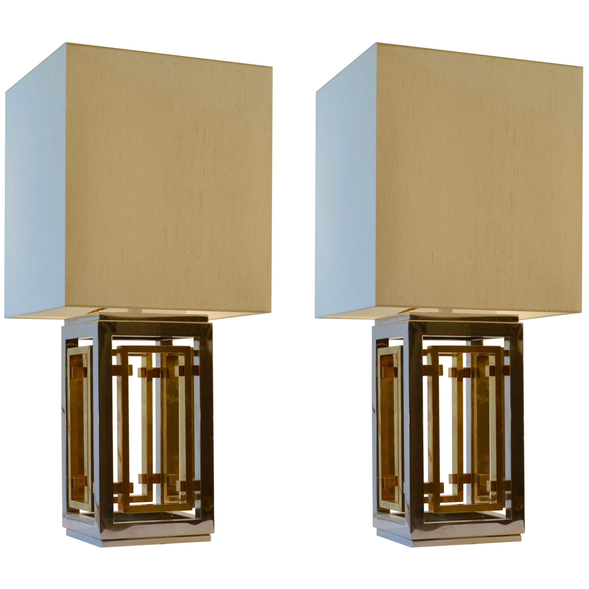 Picture of: Romeo Rega Pair Of Table Lamps Chrome And Brass With Cream Square Shades By Romeo Rega