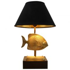 Labelled Fish Sculpture Table Lamp in Brass by Deknudt, Belgium, 1970s