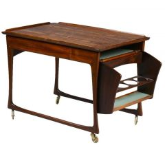 Danish Rosewood Drinks Trolley Made in Denmark, circa 1950s-1960s