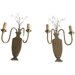 PAIR OF BRASS AND CRYSTAL WALL SCONCES