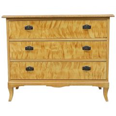 Swedish Art Deco Late Biedermeier Flame Golden Birch Chest of Drawers Commode