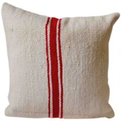 Red and White Striped Moroccan Cushion 002