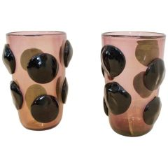 Pair of Sculptural Gold Flaked Murano Glass Vases by Sergio Costantini, Signed
