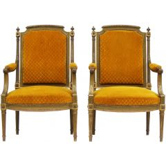Pair Of French Giltwood Gesso Armchairs 20Th Century Louis Xvi Revival To Recover