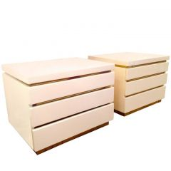 Pair of Ivory Lacquer Side Table Drawers