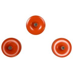 Set of Three Orange 1960s Charlotte Perriand Disc Wall Light by Honsel, Germany