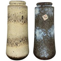 """Set of Two Pottery Fat Lava Vases Jura """"206-26"""" Made by Scheurich, Germany 1970s"""