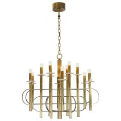 1970s Brass and Nickel Chandelier by Gaetano Sciolari