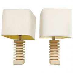 Pair of Limestone Table Lamps, 1970s