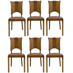 Six Midcentury Dining Chairs French Art Deco Walnut