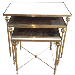 BRASS NESTING TABLES SET WITH MIRROR TOPS