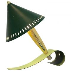 Swedish Pinocchio Desk and Wall Light in Brass and Green