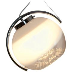 Chrome and Frosted Glass Pendant by A. V. Mazzega, Italy, 1970s