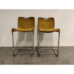 Vintage Cantilever Leather Bar Stools, 1960s, Mid Century Bar Stools