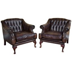 Pair of George VI Leather Armchairs