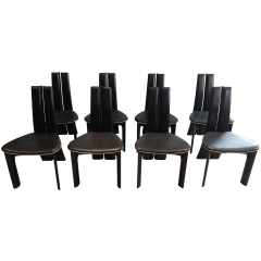 Black Leather Dining Chairs from Van den Berghe Pauvers, 1970s, Set of 8