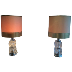 Pair Of Modernist Glass & Chrome Table Lamps