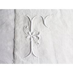 F 30cm Square Cushion - Antique French Embroidered F on Linen P3038
