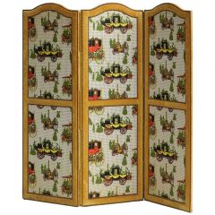 Set of Three 1970s Velvet Panel Screens