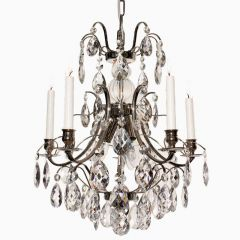 Baroque Five Arm Chrome Chandelier with Almond Crystals