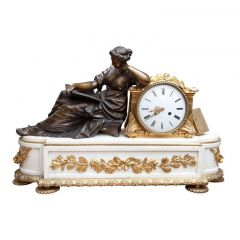 Fine French Neoclassical White Statuary Marble and Gold Ormolu Mantel Clock
