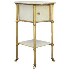 Brass and Marble Side Cabinet Early 20th Century Nightstand Bedside Table