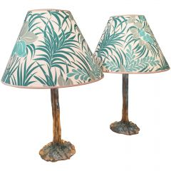 Pair of Tropical-Plant Motif Table Lamps