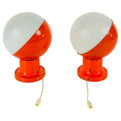 Pair of Red Kaiser Midcentury Space Age Wall Lamps, 1960s, Germany