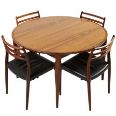 Niels Otto Møller Rosewood Dining Chairs with Rosengren Hansen Rosewood Table