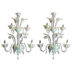 Pair of Murano Hand Blown Transparent Glass Two Tiers Wall Sconces, 1940s