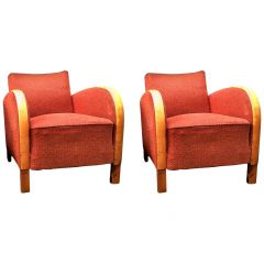 Art Deco Armchairs Swedish Early 20th Century Golden Birch Bentwood Arms Red