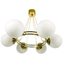 Mid-Century Modern Golden Kaiser 6-Arm Space Age Chandelier, 1960s, Germany