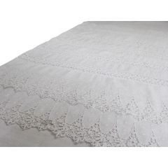 Bolsters - Antique French Embroidered Lace on Linen Bolster by Charlotte Casadéjus