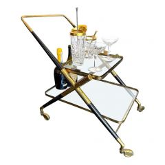 1950S CESARE LACCA BRASS AND BLACK LACQUER BAR TROLLEY WITH REMOVABLE TRAY