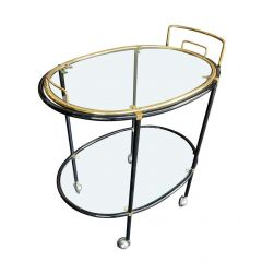 1960S FRENCH BLACK LACQUER AND BRASS OVAL BAR TROLLEY WITH REMOVABLE TRAY TOP