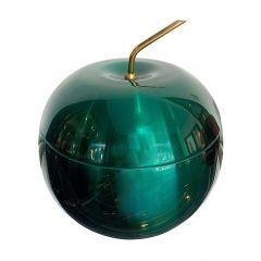 1970S APPLE ICE BUCKET BY DAYDREAM IN ANODISED VIBRANT GREEN WITH BRASS HANDLE