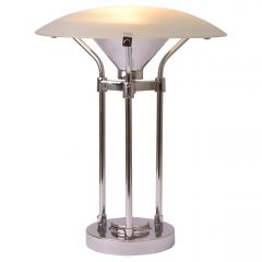 Midcentury Table Lamp with Frosted Glass Canopy Shade