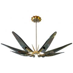 Italian Gold-Plated Flower Chandelier