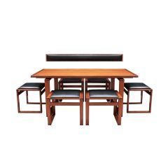Vintage Danish Mid century teak dining table and stool chairs by Erik Buch