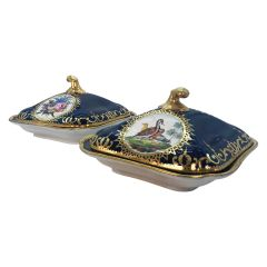 Pair of Regency Hand Painted Porcelain Covered Dishes by Coalport, circa 1805