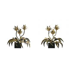 1970s Pair Of French Flower Lamps By Maison Jansen