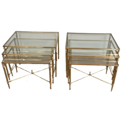 PAIR OF NEOCLASSICAL BRASS NESTING TABLES. FRENCH