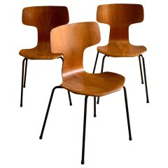 Arne Jacobsen Grand Prix Chairs for Fritz Hansen Model 3103 Hammer Chair Denmark