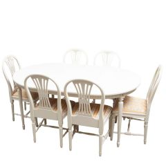 Gustavian Dining Table and 6 Chairs (ex display)