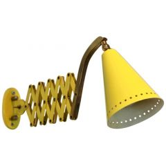 Hala Zeist Scissor Wall Lamp by H. Th. J.A. Busquet in Brass and Yellow