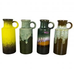 """Set of Four Vintage Pottery Fat Lava Vases """"401-20"""" by Scheurich, Germany, 1970s"""