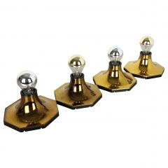 Set of Four Golden Cubic Wall Lights by Motoko Ishii for Staff Lights, 1970